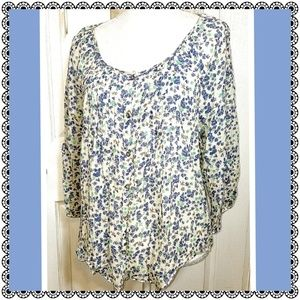 Tops - Blue floral peasant blouse, pintucked 100% cotton